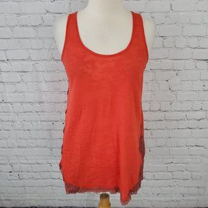 We The Free Lace Tank Top Red XS